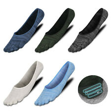 5 Pairs Men Cotton Invisible five finger toe Socks Ankle Solid No Show Low Cut