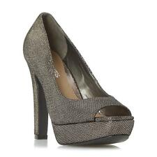 Head Over Heels by Dune Ladies CADENZA Peep Toe Platform Court Shoe in Pewter