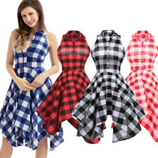 Women Midi Plaid Checks Sleeveless Shirt Dress Skater Flare Casual Party Dress