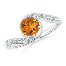 Solitaire Citrine Bypass Ring with Diamond Accents in 14k White Gold Size 3-13