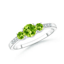 Three Stone Round Peridot Ring with Diamond Accents in 14k White Gold Size 3-13