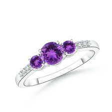 Three Stone Round Amethyst Ring with Diamond Accents in 14k White Gold Size 3-13