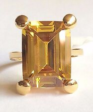 Gold Simulated Citrine Cocktail Ring Plated Canary Yellow PrincessCut Size 9 10