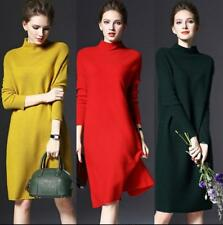 Womens Winter Long Sleeve Jumper Knitted Sweater Loose Tunic Mini Dresses US