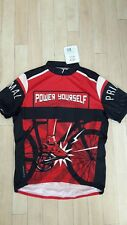 Primal Cycling Apparel Power Yourself Bike Jersey, Red Black Cream, S or XL BNWT