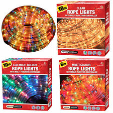 Multicolour Led Rope Light Indoor Outdoor Christmas Xmas Garden Clear Lights New