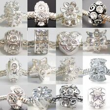 Silver Plated Clear Rhinestone Charm Beads fit European Snake Chain Bracelets