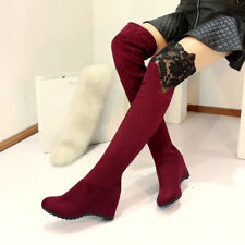 womens ladies black or red lace Over knee high boots winter boots shoe Plus size