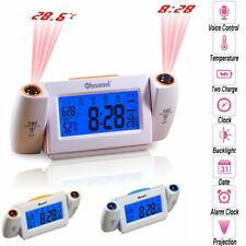 LED Dual Laser Wall Projector Digital Alarm Time Clock Projection Temperature