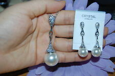 Synthetic Pearl Pendant and Earrings w/ Clear Crystals in Silver-Plated Setting