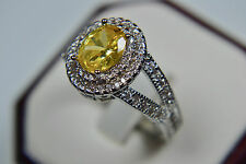 White Gold Plated Vintage Inspired Citrine Yellow CZ Engagement Ring Filigree