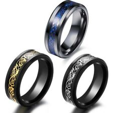 8mm Titanium Steel Silver Dragon Celtic Scroll Inlay Ring Men's Wedding Band