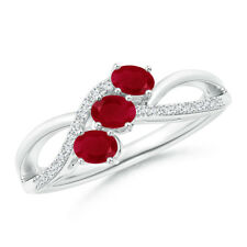 Oval Natural Ruby Three Stone Ring with Diamonds 14k White Gold/Silver Size 3-13