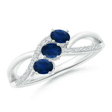 Oval Sapphire Three Stone Ring with Diamonds Silver/ 14k White Gold Size 3-13