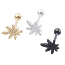 Chic Leaf Barbell Tongue Ring Stainless Steel Stud Body Piercing Jewelry Dulcet