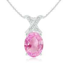 """Solitaire Oval Pink Sapphire and Diamond XO Pendant Necklace 14k Gold 18"""" Chain"""