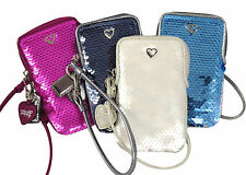 NWT Coach Sequin Wristlet/Universal Phone/Camera Case/Bag White/Opal/Silver/Pink