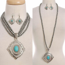 Necklace Earrings Concho Turquoise Set Chunky Silver Navajo Pearl Lead Compliant