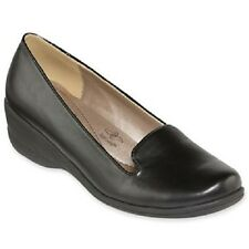 Hush Puppies Black Vitello Soft Style Lindzey Loafer Wedges - MSRP $65