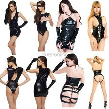 Womens Sexy Shiny Patent Leather Clubwear Mini Dress Halloween Costume Black Hot