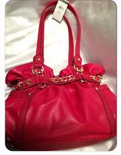 Wilsons Leather Ellie VIII Belted Faux-Leather Shopper purse bag tomato, $160