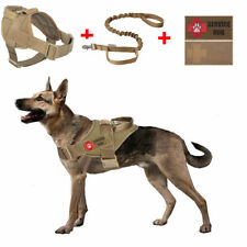 Service Tactical K9 Dog Training Adjustable Harness With 2 Patches/Leash