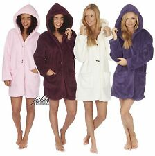 Designer Womens Hooded Sherpa Fleece Bath Robe Dressing Gown Wrap Housecoat