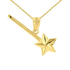 Fine 14k Yellow Gold Fairytale Magical Star Wand Pendant Necklace