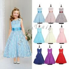 Princess Lace Party Birthday Pageant Bridesmaid Wedding Flower Girls Gown Dress