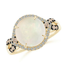 Round Opal Cocktail Ring with Coffee Diamond Accents 14K Yellow Gold Size 3-13