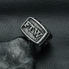 Hip-hop Silver Tone Stainless Steel FTW Middle Finger Biker Ring Men's Jewelry