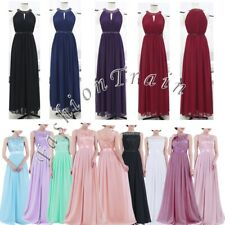 Long Womens Chiffon Bridesmaid Evening Party Formal wedding Prom Ball Gown Dress