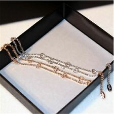 Double Layers Gold Silver Colors Chains Full Rhinestone Bracelets For Women
