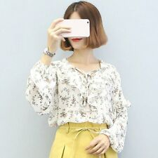 Lady Girl Chiffon Shirt Flouncing Lace Women Blouse Bowknot Front Strap GH
