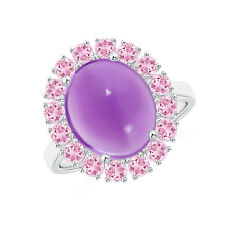 Oval Cabochon Amethyst Pink Tourmaline Halo Ring 14K White Gold Size 3-13