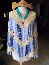 UMGEE Plus Size Tied Dyed Tunic Shirt Tie dye print with crochet lace trim and a