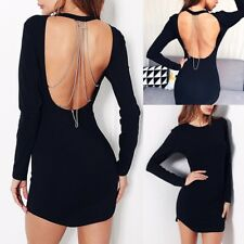UK Womens Chains Backless Long Top Ladies Bodycon Evening Party Short Mini Dress