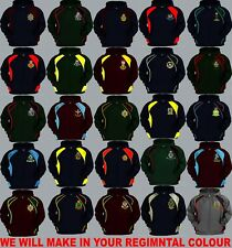 UNITS R TO R1 EMBROIDERED REGIMENTAL COLOUR ARMY RAF NAVY PULLOVER OR ZIP HOODY