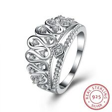 Women Trendy King Crown Zircon Pave Setting Decor 925 Sterling Silver Ring