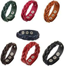 Women Men's Punk Braided Leather Bracelet Cuff Wristband Bangle with Snaps