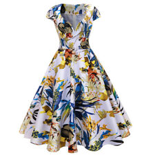 Zaful Women Vintage Dress Floral Print Sweetheart Neck Cap Sleeve Prom Tea Dress