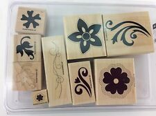Stampin Up Stitched Exotics 2 Step Stampin Rubber Stamp Wood Mount Set of 9