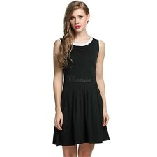 Meaneor Women Sleeveless Casual Fit Pleated Dress WT8802
