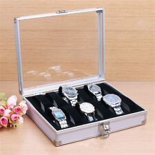 12 Grid Slots Jewelry Watches Display Storage Box Case Aluminium Square GR