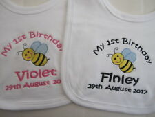 Personalised Baby Bib ~ Embroidered  ~ Baby's 1st Birthday ~ Bee ~ Gift