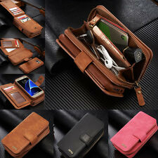 Magnetic Flip Leather Zipper Wallet Card Slots Case Cover For Samsung & iPhone