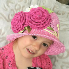 Cotton Sun Cloche Hat Handmade Crochet Pink Baby Bonnet with Ferns and Flowers