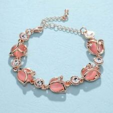 Woman Fashion Flower Shaped Crystal Decorated Link Chain Bracelet