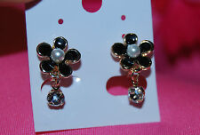 Flower Clip-on Earrings with Synthetic Pearl Stamens and Clear Crystals