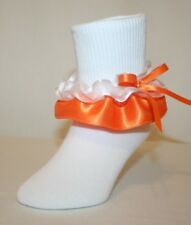 Girls White Cotton Nylon Ruffle Socks Orange Satin and White Organza Nicole